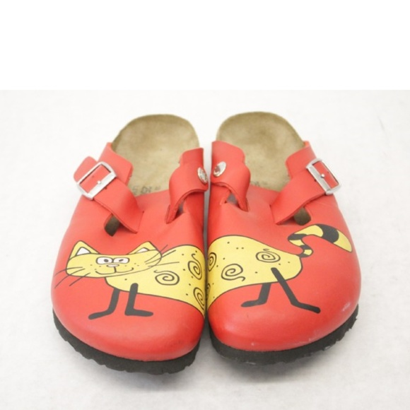 2ba3b2d13f93 Birkenstock Shoes - Birkenstock Birki s Cat Red Leather Clogs 39 8